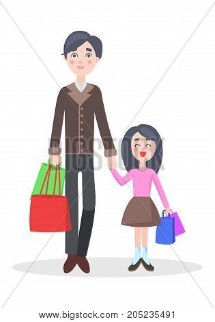 Family shopping cartoon concept isolated on white background. Happy young brunet man make purchases with child flat vector illustration. Father buying gifts on seasonal holiday sale with daughter
