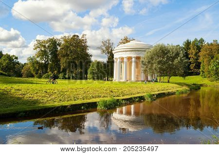 PAVLOVSK, ST PETERSBURG,  RUSSIA - SEPTEMBER 21 2017. The Temple of Friendship near Slavyanka River in Pavlovsk near St Petersburg Russia. Architecture landscape of  Pavlovsk St Petersburg Russia