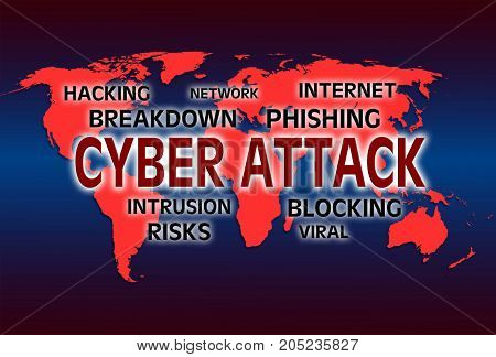 illustration with inscription cyber attack and world map