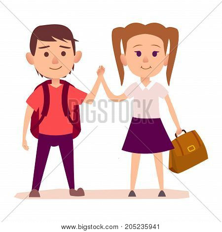 Small boy with dark red backpack on shoulders and pretty girl with two tails hairstyle holds brown bag in one hand vector illustration