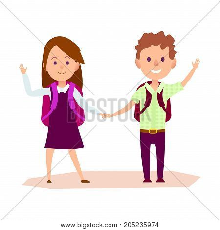 Schoolgirl and schoolboy stands and waves one hand, other arm keeps together. Lovely schoolchildren with color knapsackes vector illustration.