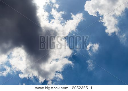 beautiful clouds in the blue sky . In a park in the nature