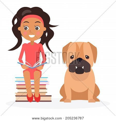 Smiling kid sits on pile of literature and keeps open textbook near English bulldog vector illustration on white background.