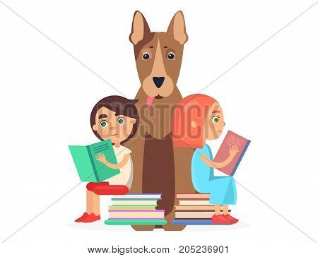 Cute girl and boy sits on two pile of books and reading textbook to big bull terrier background vector illustration closeup.