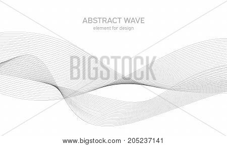 Abstract wave element for design. Digital frequency track equalizer. Stylized line art background. Vector. Wave with lines created using blend tool. Curved wavy line, smooth stripe.