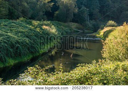 The Green River flows lazily along in late summer in Kent Washington.