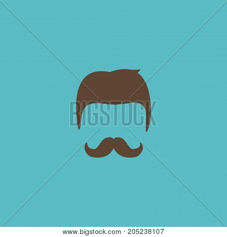 Flat Icon Hairstyle Element. Vector Illustration Of Flat Icon Moustache Isolated On Clean Background