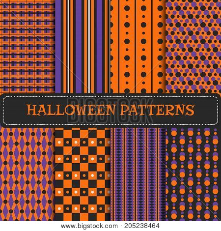 Set of 8 Halloween seamless patterns. Vector backgrounds. Carnival or party design with beads, dots, chessboard in orange, black and purple. Pattern swatches included in Swatch panel.