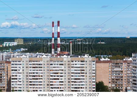 CHP pipes in Zelenograd administrative district of a Moscow, Russia