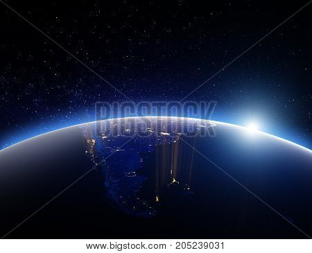 World globe planet Earth. 3D Rendering. Stars my own photo. Elements of this image furnished by NASA