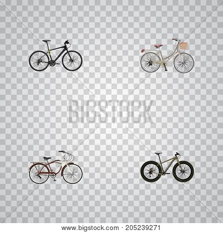 Realistic Hybrid Velocipede, Journey Bike, Brand Vector Elements
