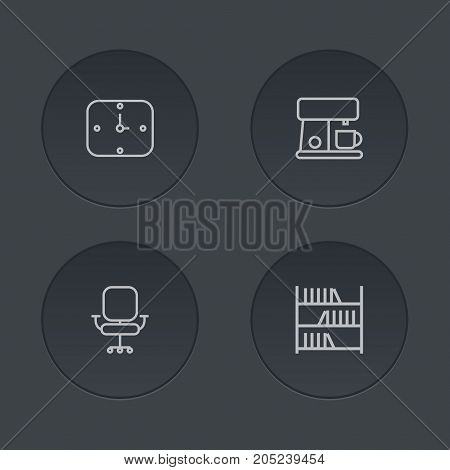 Collection Of Coffee Maker, Wall Clock, Bookshelf And Other Elements.  Set Of 4 Bureau Outline Icons Set.