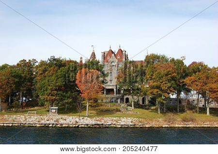 Boldt Castle and Alster Tower on Heart Island, Thousand Islands area of New York State, USA.