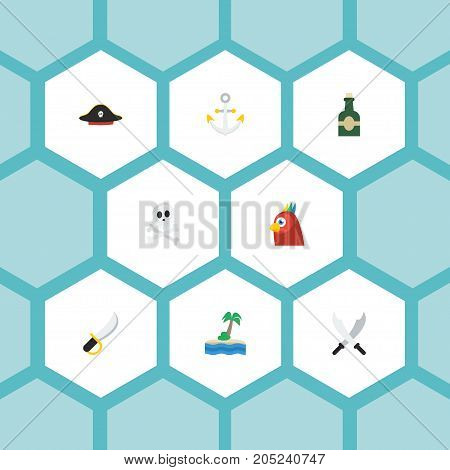 Flat Icons Sword, Pirate Hat, Cranium And Other Vector Elements