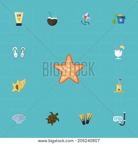 Flat Icons Cocos, Conch, Castle And Other Vector Elements