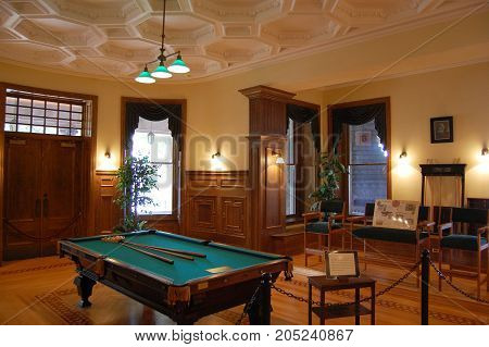 THOUSAND ISLANDS, NY, USA - OCT. 17, 2009: Billiard Room in Boldt Castle, Thousand Islands, New York State, USA.
