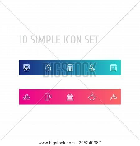 Collection Of Moneybag, Golden Bars, Safe And Other Elements.  Set Of 10 Finance Outline Icons Set.