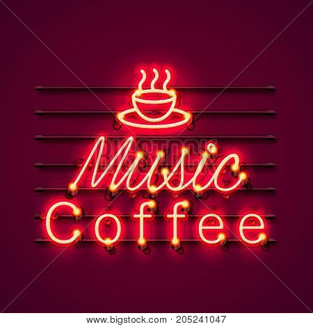 Neon music coffee text icon signboard on the red background. Vector illustration