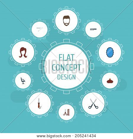 Flat Icons Looking-Glass, Elbow Chair, Hairdresser And Other Vector Elements