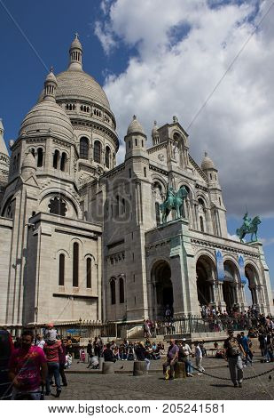 Paris France - July 24 2011: The Roman architecture Basilica of Sacre-Coeur in Montmartre