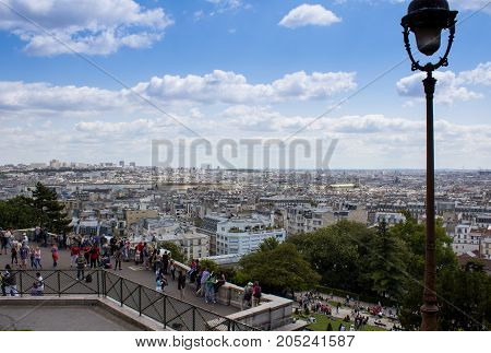 Paris France - July 24 2011: View of city from the Butte Montmartre