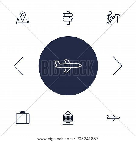Collection Of Building, Direction, Pin And Other Elements.  Set Of 6 Travel Outline Icons Set.