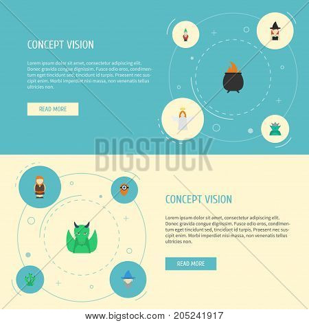 Flat Icons Fire, Halo, Hell And Other Vector Elements