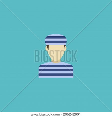 Flat Icon Convict Element. Vector Illustration Of Flat Icon Prisoner Isolated On Clean Background