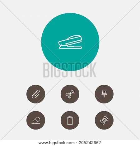 Collection Of Sharpener, Puncher, Eraser And Other Elements.  Set Of 7 Stationery Outline Icons Set.