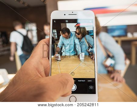 New Iphone 8 And Iphone 8 Plus In Apple Store With Seniors Buying Iphone,