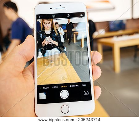 New Iphone 8 And Iphone 8 Plus In Apple Store Taking Photo Camera App