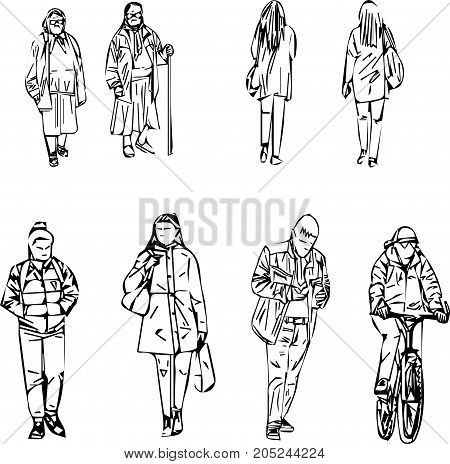 abstract sketch of walking people in line style on white background