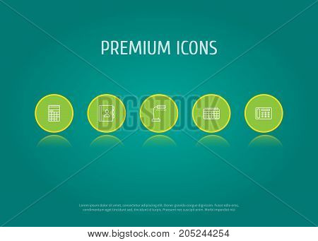 Collection Of Telephone Directory, Reading-Lamp, Counter And Other Elements.  Set Of 5 Bureau Outline Icons Set.
