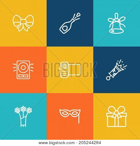 Collection Of Amplifier, Bow, Decorative And Other Elements.  Set Of 9 Party Outline Icons Set.
