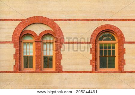 Two windows in a row on facade of Flagler College front view Saint Augustine USA