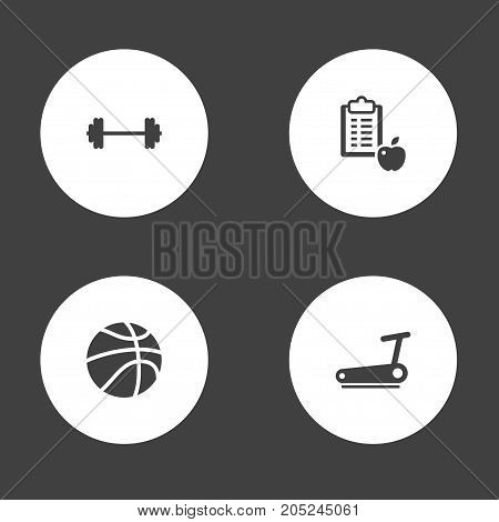 Collection Of B-Ball, Regime, Dumbbell And Other Elements.  Set Of 4 Bodybuilding Icons Set.