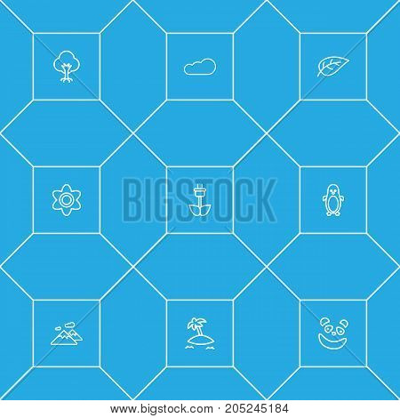 Collection Of Eco Energy, Leaf, Cloud And Other Elements.  Set Of 9 Nature Outline Icons Set.