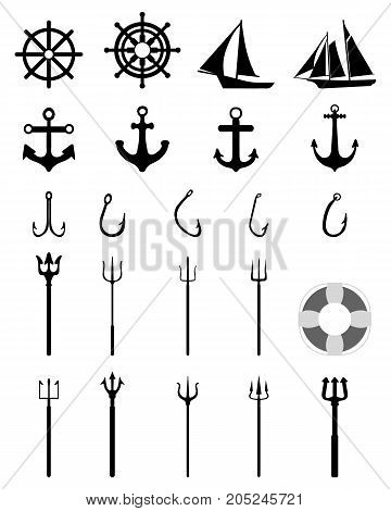 Set of Nautical Icons isolated on black background