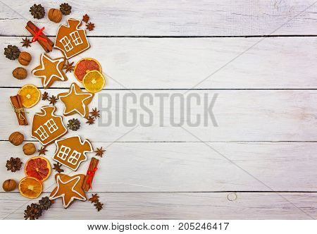 Festive ornament of spices nuts cones fruits berries. Christmas decor in a rustic style. Christmas background.