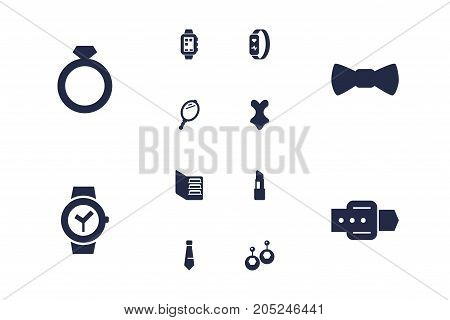 Collection Of Looking-Glass, Diamond, Smart Watch And Other Elements.  Set Of 12 Decorating Icons Set.