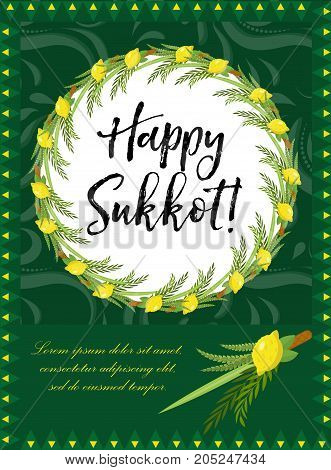 Hadas images illustrations vectors free bigstock happy sukkot flyer posters invitation sukkot template for your design greeting card and m4hsunfo