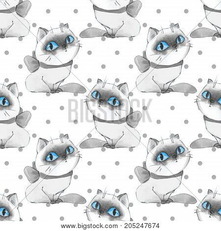 Watercolor cartoon cats, monochrome seamless pattern