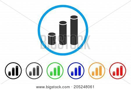 Bar Chart Cylinders rounded icon. Style is a flat bar chart cylinders gray symbol inside light blue circle with black, gray, green, blue, red, orange color versions.