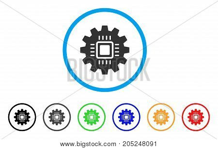 Chip Development Gear rounded icon. Style is a flat chip development gear grey symbol inside light blue circle with black, gray, green, blue, red, orange color versions.