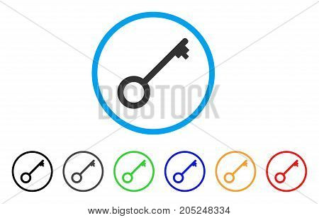 Key rounded icon. Style is a flat key grey symbol inside light blue circle with black, gray, green, blue, red, orange color versions. Vector designed for web and software interfaces.