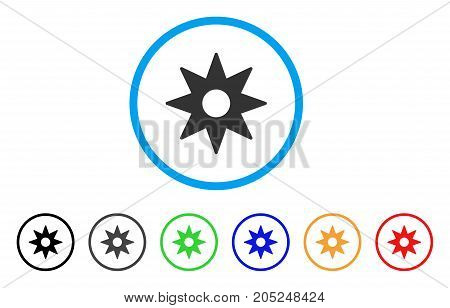 New Star Sticker rounded icon. Style is a flat new star sticker grey symbol inside light blue circle with black, gray, green, blue, red, orange color versions.