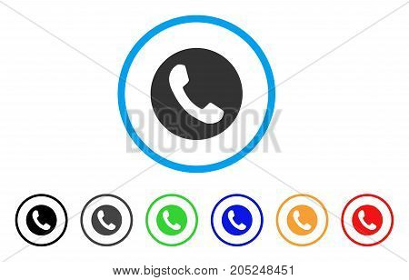 Phone Number rounded icon. Style is a flat phone number gray symbol inside light blue circle with black, gray, green, blue, red, orange variants. Vector designed for web and software interfaces.