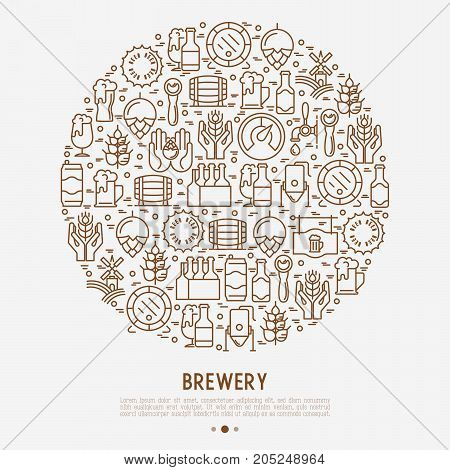 Beer concept in circle with thin line icons related to brewery and Beer October Festival. Modern vector illustration for banner, web page, print media.