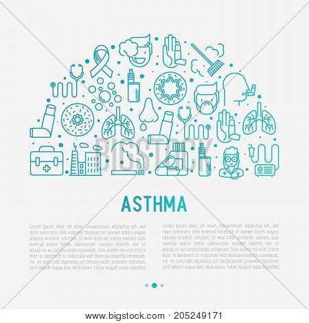 World asthma day concept in half circle with thin line icons: air pollution, smoking, respirator, therapist, inhaler, bronchi, allergy symptoms and allergens. Vector illustration for banner, web page, print media.
