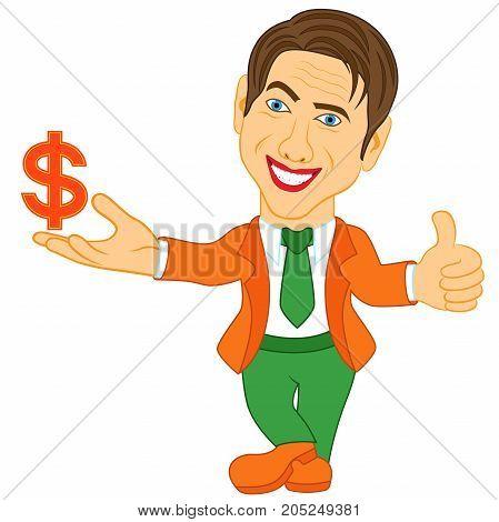 Men Holds A Dollar Symbol